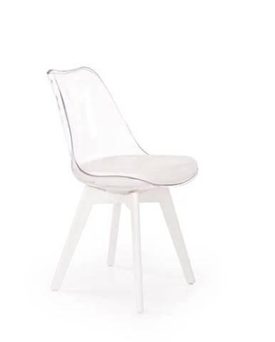 Halmar Jídelní židle K245, bílá/průhledná