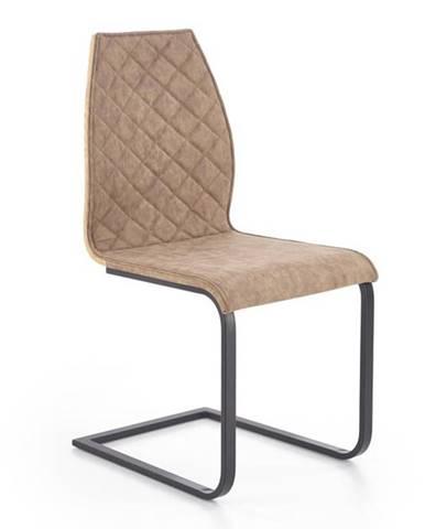 Halmar Jídelní židle K265, hnědá/dub zlatý