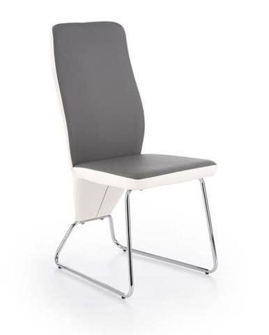 Halmar Jídelní židle K299, bílá/šedá