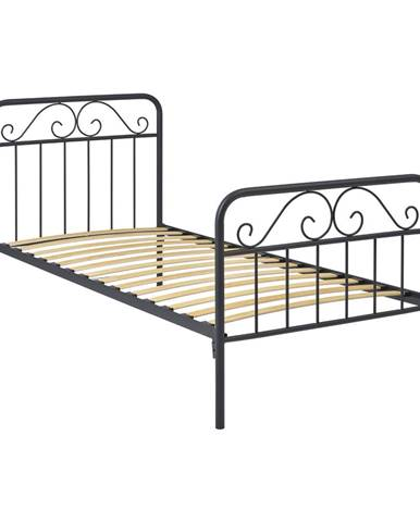Kovová postel LEON 90x200 šedá