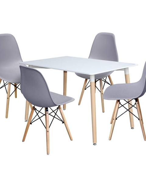 IDEA Nábytek Jídelní stůl 120x80 UNO bílý + 4 židle UNO šedé