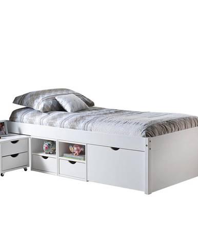 Multifunkční postel TILL 90x200 bílý lak