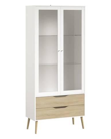Vitrína 2 zásuvky + 2 dveře NORSK dub/bílá