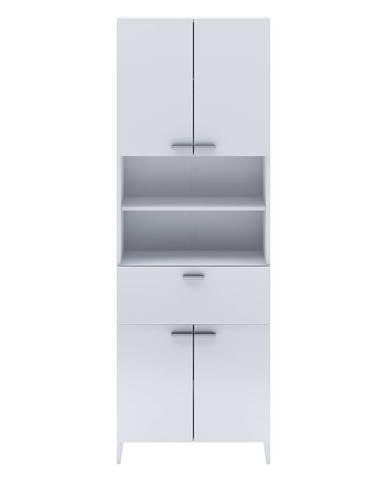 Vysoká skříňka 4 dveře + 1 zásuvka KORAL bílá
