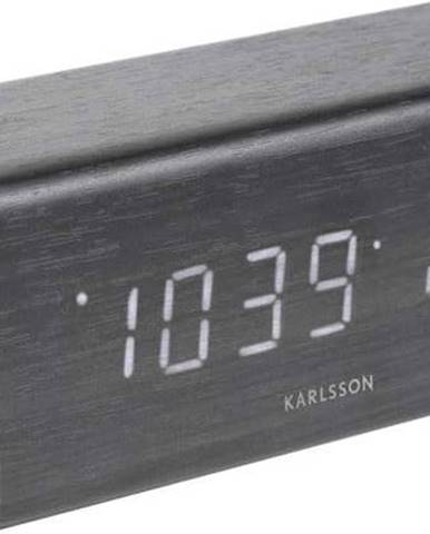 Černý budík v dřevěném dekoru Karlsson Cube, 16 x 7,2 cm