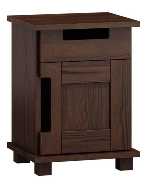 MAGNAT Noční stolek MODERN NR 5, masiv borovice, moření: ořech