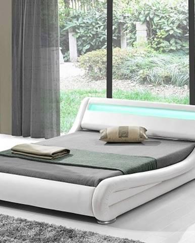 FILIDA čalouněná postel s roštem a LED osvětlením 180x200 cm, bílá