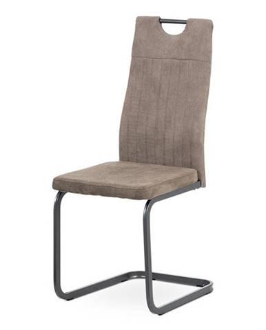 Jídelní židle DCL-462 LAN3, lanýžová látka/šedý kov