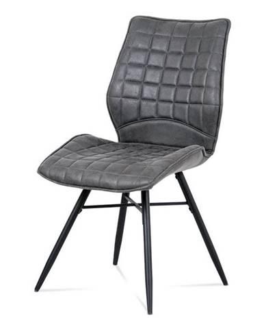 Jídelní židle HC-444 GREY3, šedá látka/černý kov
