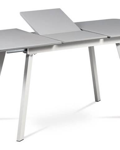 Rozkládací jídelní stůl 120-160x80 cm HT-801 GREY, šedá matná/šedé sklo/šedý matný kov