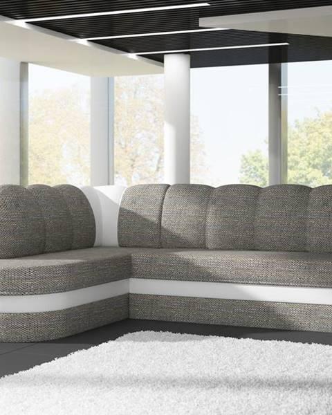 ELTAP Rohová sedačka BENANO B018, levá, šedá látka/bílá ekokůže