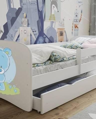 Dětská postel s motivem medvídka BABYDREAMS 70x140 cm, bílá - Bed without mattress NIEBIESKI MIŚ