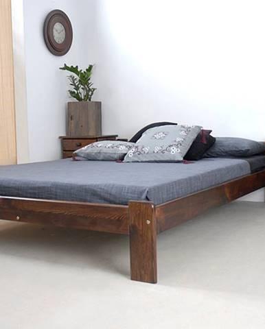 Postel CELINKA 140x200 cm s roštem, masiv borovice/moření ořech
