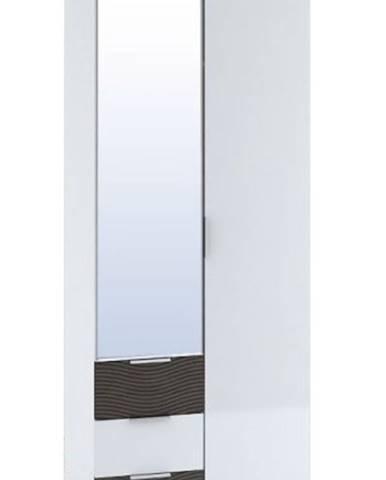 Šatní skříň 2-dveřová TERRA, wenge/bílý lesk