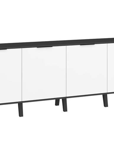 Sven 03 - Komoda 4D, černá/bílý lesk