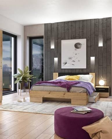 VERA II postel 180x200 cm s nočními stolky, dub artisan/černá