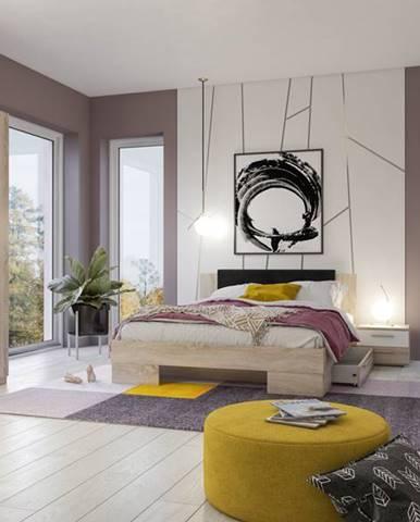 VERA II postel 180x200 cm s nočními stolky, dub sonoma/bílá