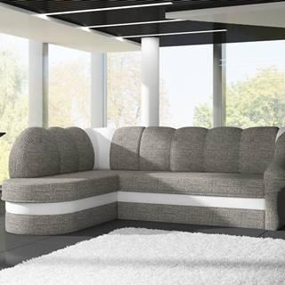 Rohová sedačka BENANO B018, levá, šedá látka/bílá ekokůže