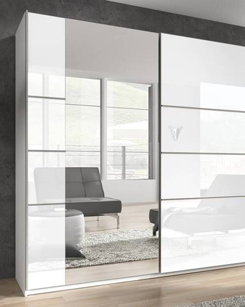 Smartshop BETA šatní skříň se zrcadlem 221 TYP 58, bílá/bílý lesk