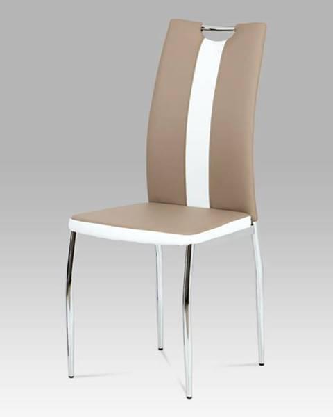 Smartshop Jídelní židle AC-2202 CAP, koženka cappuccino+bílá/chrom