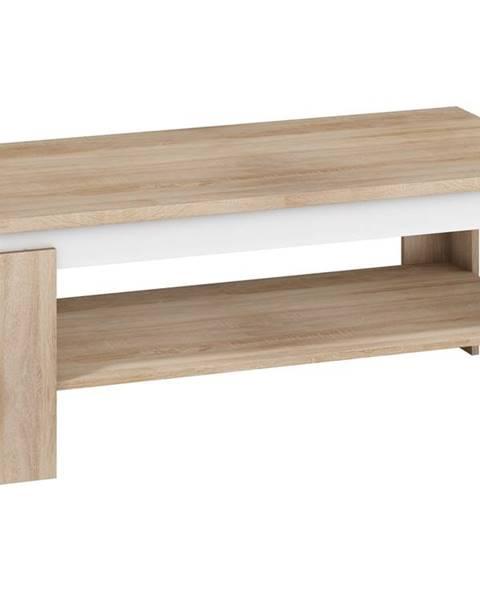 MORAVIA FLAT Konferenční stolek BETA, dub sonoma sv./bílý lesk