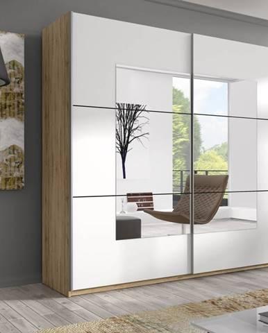 BETA šatní skříň se zrcadlem 221 TYP 58, dub san remo světlý/bílá
