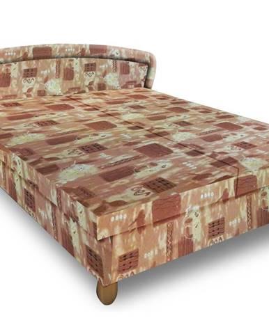 Čalouněná postel PAVLA 180x200 cm, hnědá látka