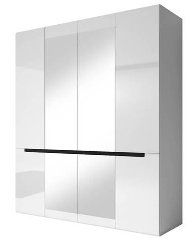 HEKTOR šatní skříň se zrcadlem 180 TYP 20, bílá/bílý lesk