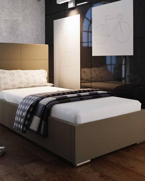 Smartshop Čalouněná postel SOFIE 4 90x200 cm, hnědá látka