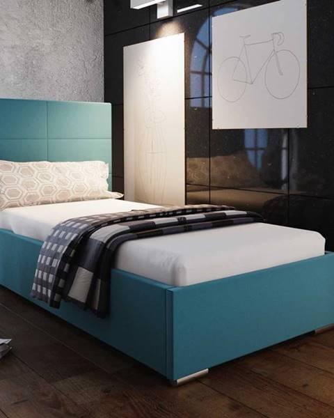 Smartshop Čalouněná postel SOFIE 4 90x200 cm, modrá látka