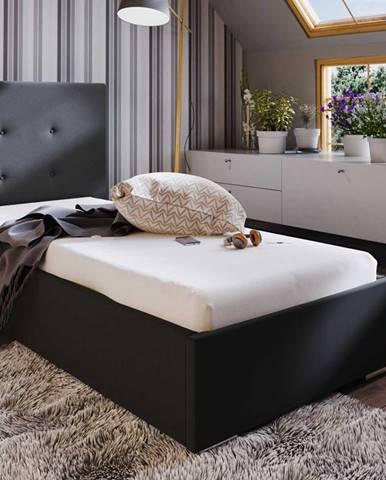 Čalouněná postel SOFIE 1 80X200 cm, černá látka