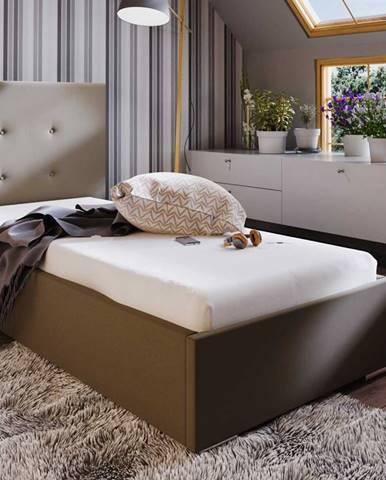 Čalouněná postel SOFIE 1 80X200 cm, hnědá látka