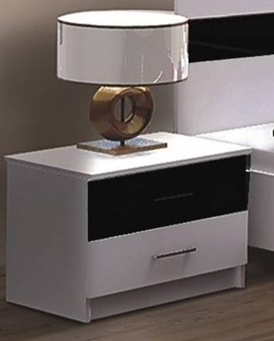 DUBAJ, noční stolek, bílá/černé sklo