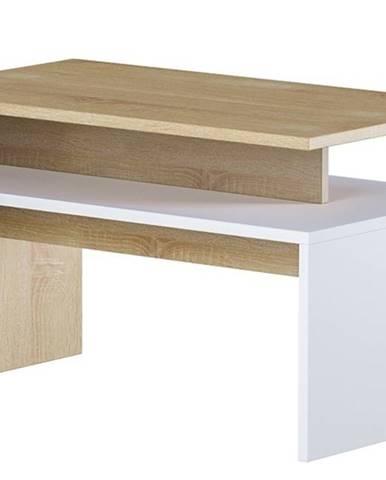 Konferenční stolek LAIT, dub sonoma/bílá