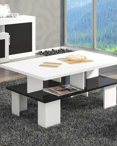 Konferenční stolek SUPRA 2, bílá/černý lesk