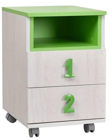 NUMERO komoda 2F NIKA, dub bílý / zelená