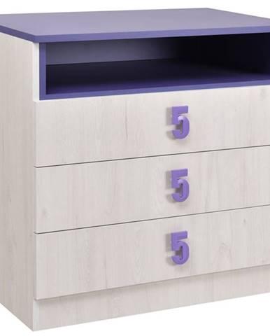 NUMERO komoda 3F, dub bílý / fialová
