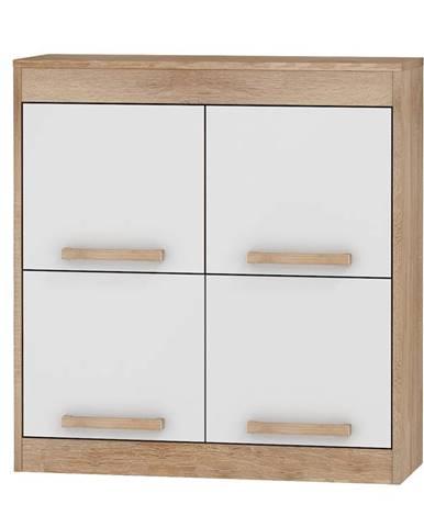 Závěsná skříňka 4D MAXIMUS 41, dub sonoma/bílý lesk