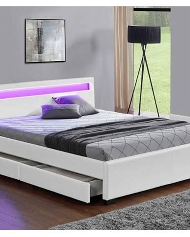 CLARETA čalouněná postel s roštem 160x200 cm, bílá