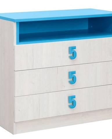 NUMERO komoda 3F, dub bílý / modrá