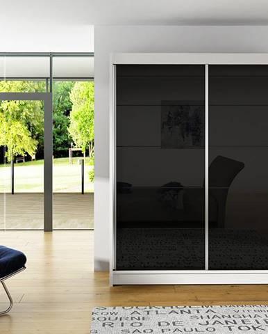 Šatní skříň VITO I, bílý mat/černé sklo