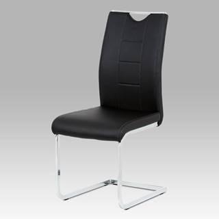 Jídelní židle DCL-411 BK, černá koženka / chrom