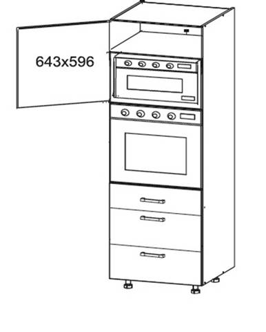 EDAN vysoká skříň DPS60/207 SMARTBOX, korpus šedá grenola, dvířka dub reveal