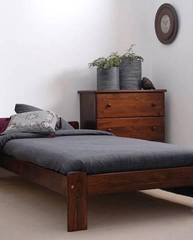 Postel CELINKA 90x200 cm s roštem, masiv borovice/moření ořech