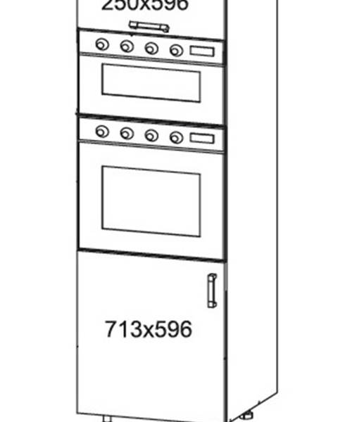 Smartshop IRIS vysoká skříň DPS60/207O levá, korpus šedá grenola, dvířka ferro
