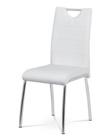Jídelní židle - bílá ekokůže, kovová chromovaná podnož AC-9920 WT