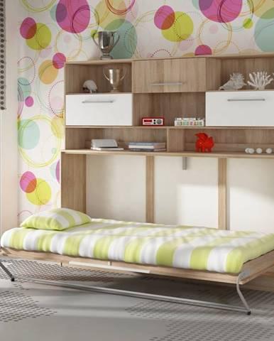 ROGER, multifunkční postel s nastavbou, dub sonoma/bílá