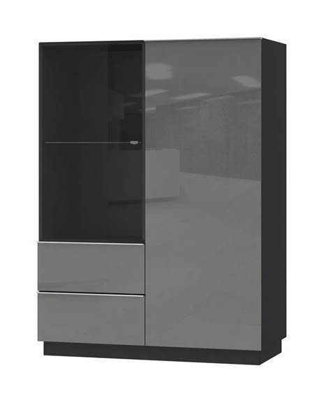 Smartshop HELIO TYP 44 vitrína 2D2S, černá/šedé sklo