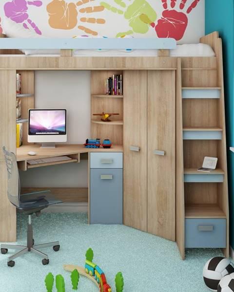 MORAVIA FLAT Multifunkční postel ANTRESOLA pravá, dub sonoma/světle modrá/modrá