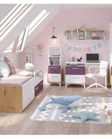 Dětský pokoj HEY 1, dub artisan/bílá/fialová, 5 let záruka